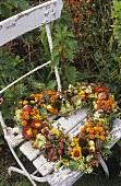Heart-shaped wreath of autumn flowers