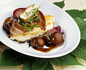 Chicken breast with chestnuts & damsons in red wine sauce