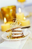 Tower of biscuits and white chocolate with spun sugar
