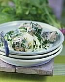 Spinach dumplings with leeks