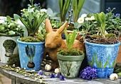Plant pots decorated using serviette technique