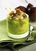 Pear and Parmesan mousse with caramel sauce and nuts