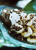 Banana slices with cream, chestnut cream & grated chocolate