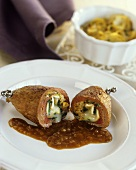 Veal roulade with goat's cheese & spinach filling & wine sauce