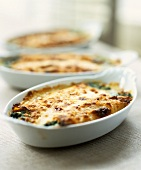 Tuna and spinach bake in baking dishes