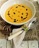 Squash soup and napkin with squash napkin ring