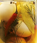 Pickled boiled eggs in jar (close-up)