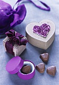 Heart-shaped Milka chocolates and pretty gift boxes