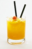 Long drink with orange juice (outdoor shot)