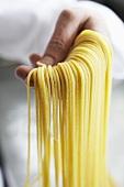 Hand holding fresh, home-made spaghetti