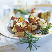 Monkfish and bacon on rosemary skewers