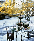 Table decorated for Christmas in snow
