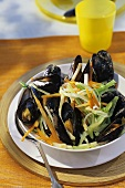 Mussel stew (Mussels & julienne vegetables cooked in wine)