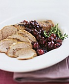 Roast duck breast with cranberry sauce