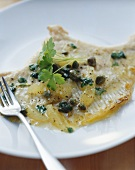 Skate fillet with caper and lemon butter