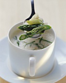 Asparagus soup with ramsons (wild garlic)