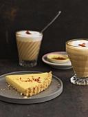 White chocolate tart with chilli & spiced latte macchiato