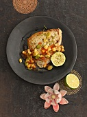 Fried swordfish steak with pineapple and chilli salsa