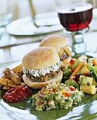 Lamb burger with herb feta, couscous salad & mixed pickles
