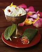 Pistachio ice cream garnished with flower petals