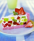 Yoghurt cake with fruit jelly cubes