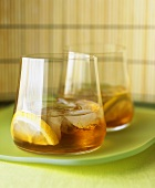 Rum drink with ice cubes