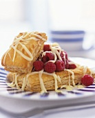 Puff pastry slices with raspberries