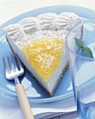 A piece of lemon cheese tart