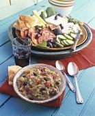 Aubergine puree, Greek appetiser plate behind