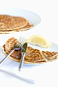 Pancakes with sugar and lemon (for Shrove Tuesday)