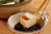 Cooked tofu with soy sauce