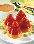 Fruit jelly towers with caramel sauce