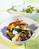Chicken fillet with mushrooms,  savoy and mashed potato