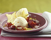 White chocolate mousse with red grapes