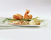 Shrimps with sesame and orange crust and rice