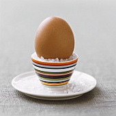 Boiled egg in an egg cup