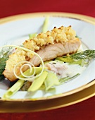 Salmon fillet with gratin topping