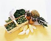 Stillleben mit Kohlgemüse, Ananas und Chicoree