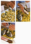 Preparing oven-baked gilthead seabream and potatoes