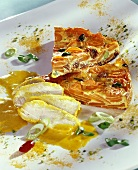 Carrot quiche and marinated chicken breast