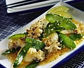 Calamari with mangetout and sesame