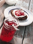 Wholemeal bread with raspberry and redcurrant jelly