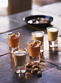 Almond soup and gazpacho in small glasses