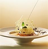 White coffee ice cream on mocha jelly