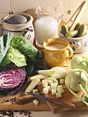 Vegetables and dairy products in kitchen