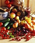 Still life with fruit and vegetables for bottling