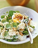 Potato salad with broad beans and watercress