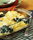 Baked egg dish with spinach