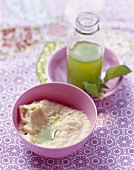 Chicken puree with parsley root and basil oil