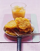 Rosti with pear and mango compote